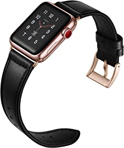 CINORS Leather Band Compatible with Apple Watch 38mm 40mm Genuine Leather Black Bands Replacement Loop Strap with Rose Gold Buckle for iWatch Series 6 5 SE 4 3 2 1