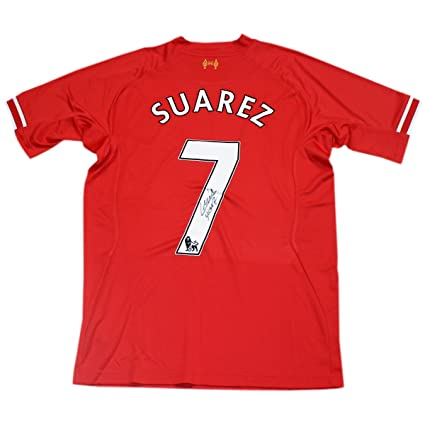 buy online eb4fe cb738 Luis Suarez Hand Signed Liverpool Jersey Shirt Icons ...