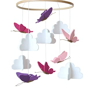 Sorrel and Fern Baby Crib Mobile Butterflies in The Clouds Nursery Decoration for Girls