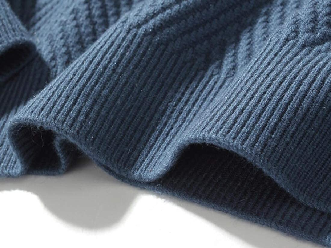 ouxiuli Mens Knit Pullover Sweater Winter Ribbed Thicken Warm Crew Neck