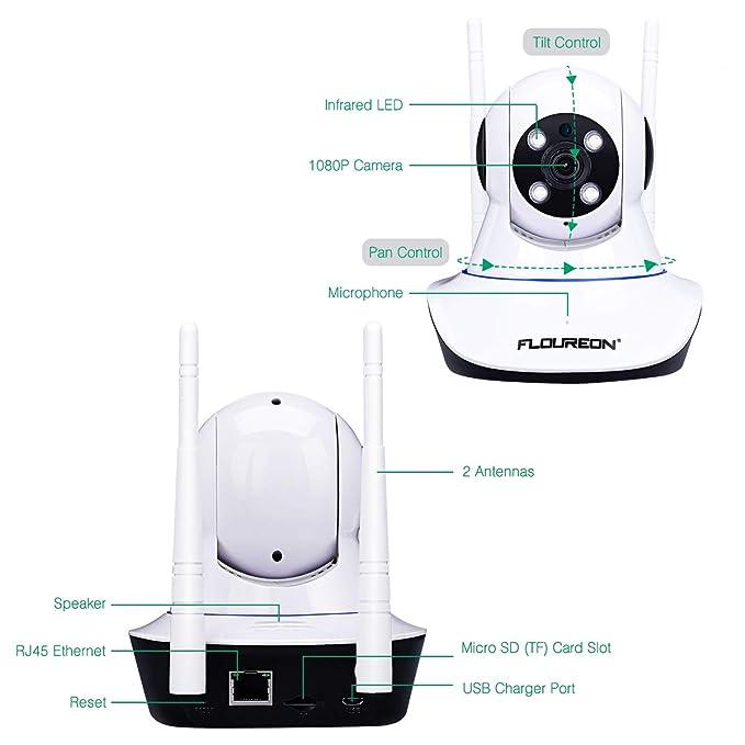 FLOUREON Cámara IP inalámbrica, cámara WiFi de vigilancia de Seguridad Interior 1080P con Ranura para Tarjeta SD, detección de Movimiento, visión Nocturna ...
