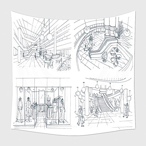 Home Decor Tapestry Wall Hanging Set Of Modern Interior Shopping Center Collection Various Space Mall Contour Sketch Illustration for Bedroom Living Room - Mall San Francisco Centre