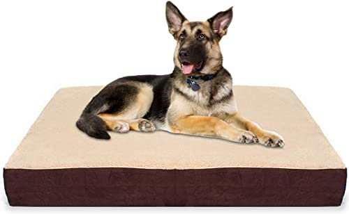KOPEKS Rectangular Orthopedic Memory Foam Dog Bed – Includes Waterproof Inner Protector Removable Cover