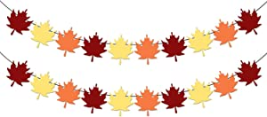 Maple Leaf Fall Garland Set – Pack of 2, No DIY | Felt Fall Garland for Thanksgiving Decorations | Autumn Leaf Streamers for Fall Decorations, Autumn Themed Party at Home, OfficeFireplace Décor