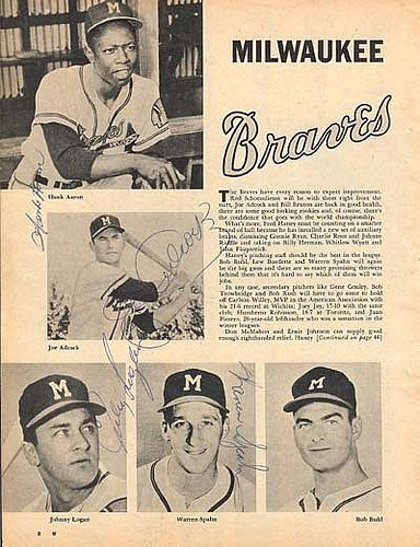 Braves 1950's Magazine Page Photograph Signed Aaron, Spahn, Others - Certified Genuine Autograph By PSA/DNA - Autographed Photo (Photograph Spahn)