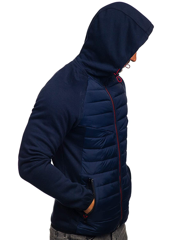 BOLF Sweat-Shirt à Capuche Hoodie Basic Zip Sportif Mix 4D4 Dunkelblau_ks1886