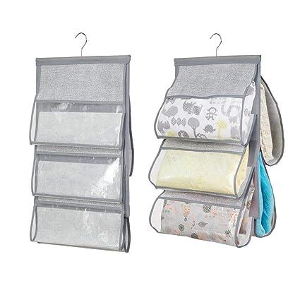 MetroDecor mDesign Colgador Ropa para habitacion Infantil - Organizador armarios con 5 Bolsillos - Perchero Puerta