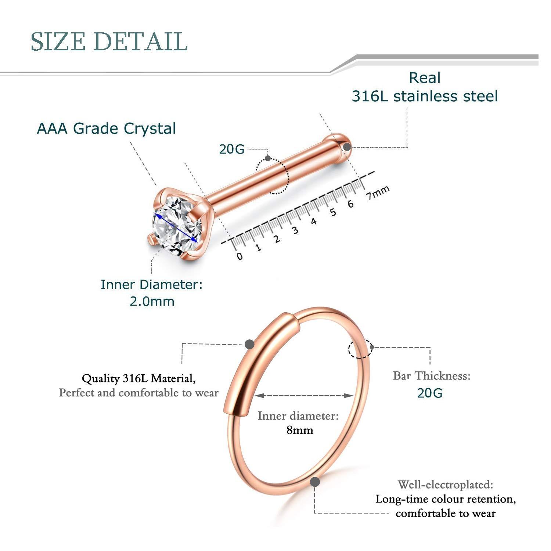 Adramata 12pcs 20g Stainless Steel Nose Stud Rings For Women Girls L