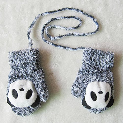 Staron Kids Toddler Gloves Mittens Baby Winter Cartoon Panda Thicken Warm Gloves (Gray)