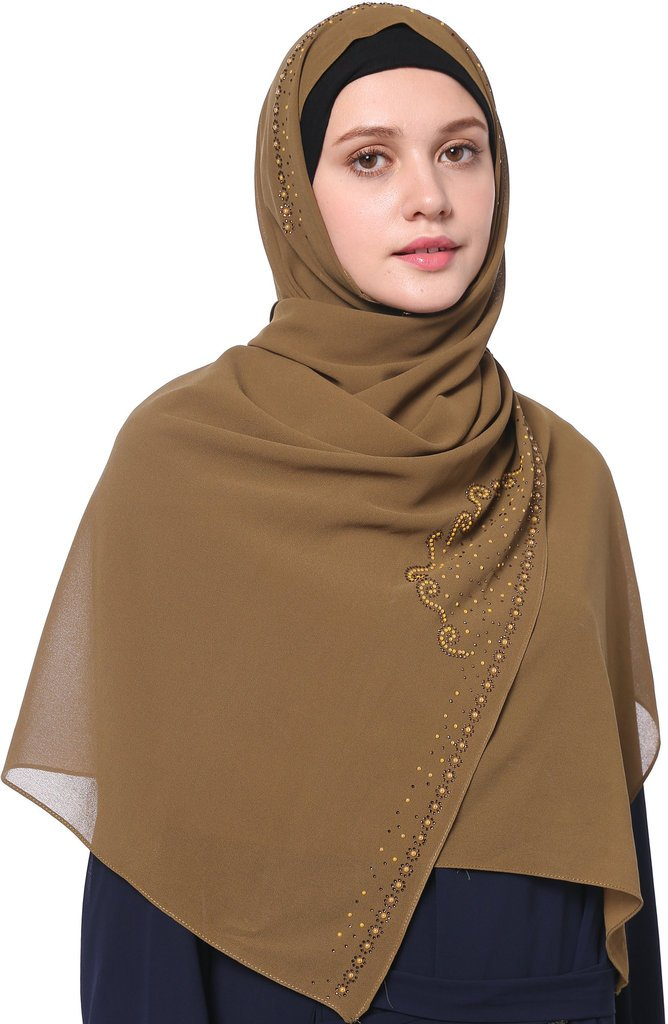 YI HENG MEI Women's Modest Muslim Soft Chiffon Rhinestones Long Hijab Headscarf with Buttons 70×25inch,Tan by YI HENG MEI (Image #5)