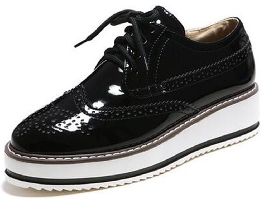 Summerwhisper Women's Trendy Round Toe Low Top Brogues Pumps Lace-up Platform Oxfords Shoes Black 10 B(M) US
