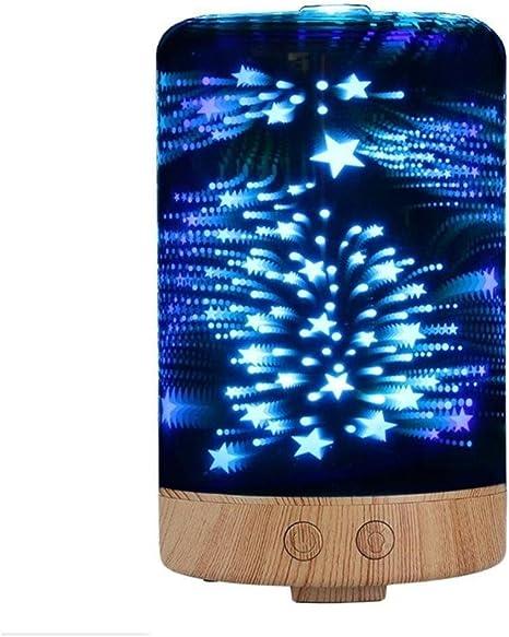 3D Estrellas Llama Cielo Humidificador Ultrasónico Aromaterapia Aceite Perfumado esencial Difusor 8 LED Color Noche Ligero Apagado Cinco puntas Estrella Patrón (100ML): Amazon.es: Deportes y aire libre