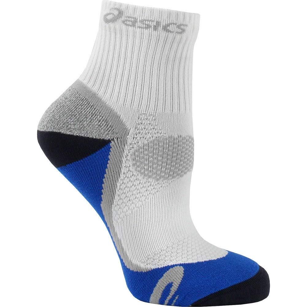 ASICS Kayano Classic Quarter Socks, White/Iron/Fresh Blue/Frost, 1-Pair, Small