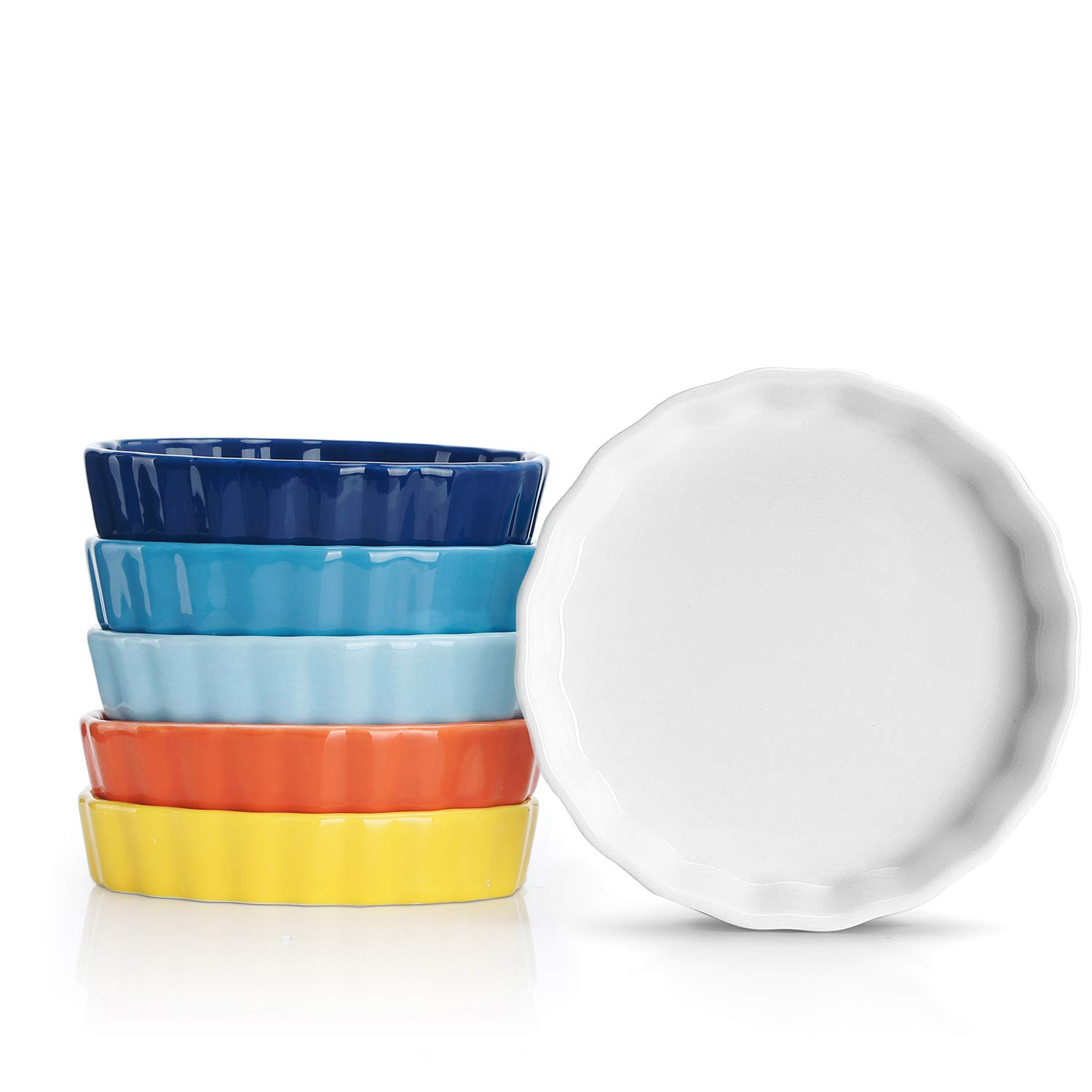 Sweese 505.002 Porcelain Ramekins Round Shape - 5 Ounce for Creme Brulee - Set of 6, Hot Assorted Colors