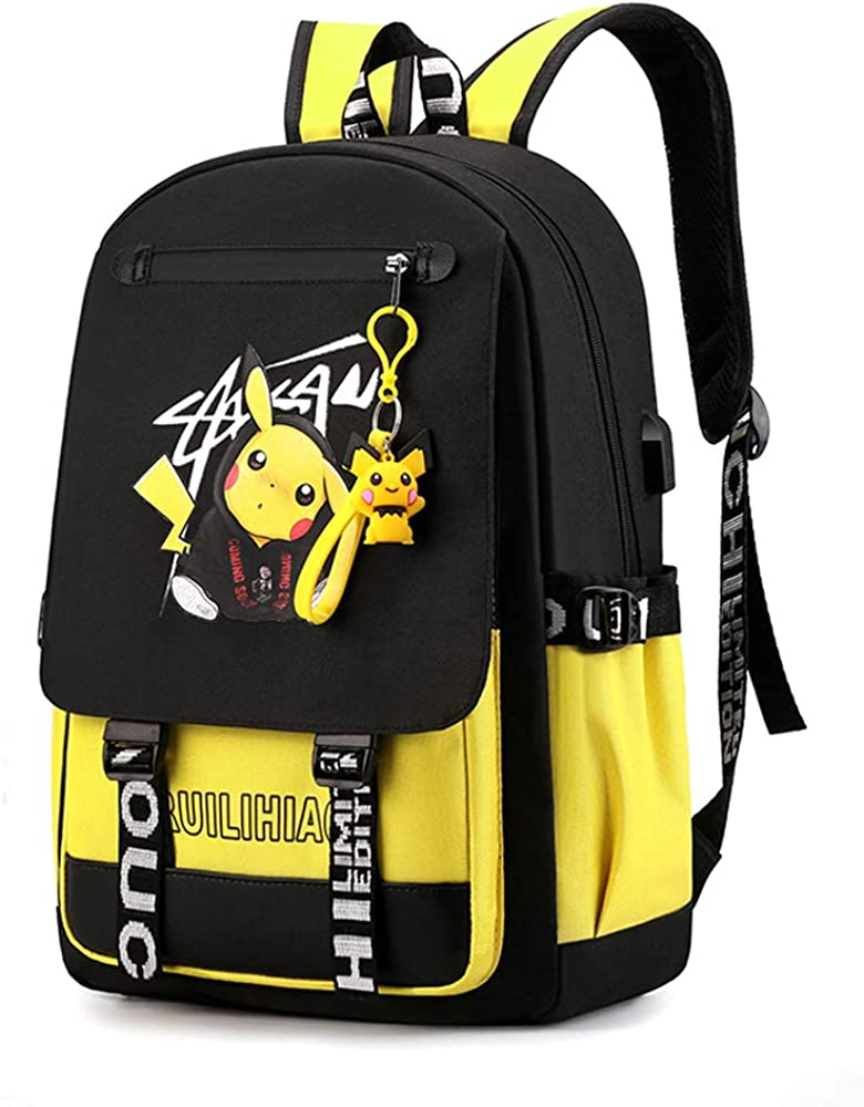 Fashionable Computer School Backpack with USB Port,Travel Business Work Backpack Cartoon Luminous Pattern Pikachu Backpack