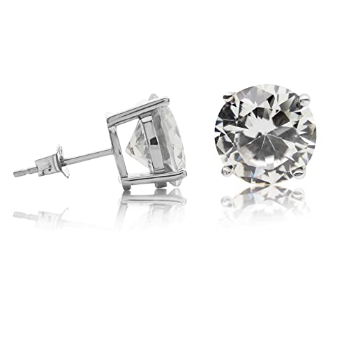 c6fa2066d Kezef Creations Sterling Silver .925 CZ Stud Earrings with 10mm Round White Cubic  Zirconia Gemstones