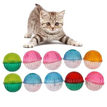 10pcs juguetes de plástico para mascotas gato hueco con campanas ...