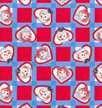 Raggedy Ann & Andy Checkerboard Faces Fabric by Daisy (Checkerboard Face)
