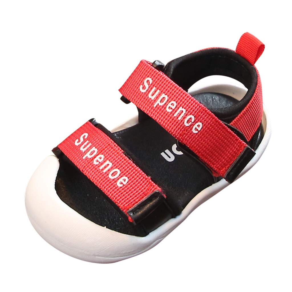 Anglewolf Boy's Girl's Closed Toe Sandals Kids Outdoor Summer Casual Flat Beach Walking Shoes Boys Baby Infant Girl Toddler Fashion Canvas Soft Sole Crib Newborn Girls Letter Cool