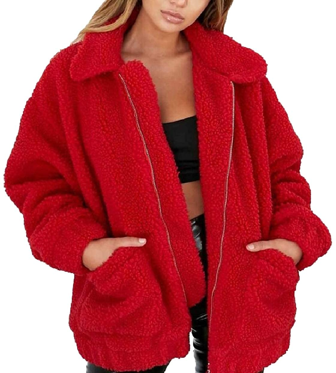 xiaohuoban Women's Long Sleeve Zipper Dual Pocket Faux Fur Coat Jacket