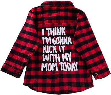 puseky Camisa a Cuadros de niñas y niños pequeños Camisa a Cuadros de Manga Larga Camisa Estampada con Botones Camisa Superior