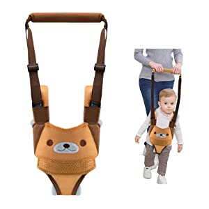 Baby Walking Harness Adjustable Detachable Mesh Baby Walker Assistant Protective Belt for Kids Infant Toddlers (Yellow)