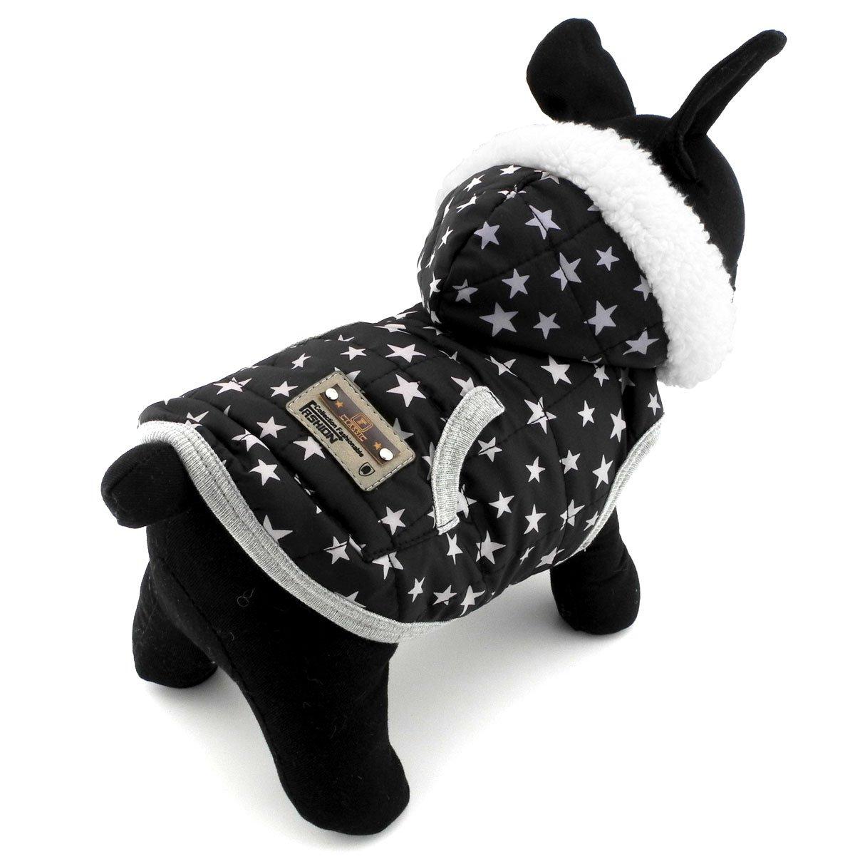 PEGASUS Dots Print Small Dog Vest Winter Coat Hooded Jacket Puppy Pet Cat Clothes Cashmere Black XL
