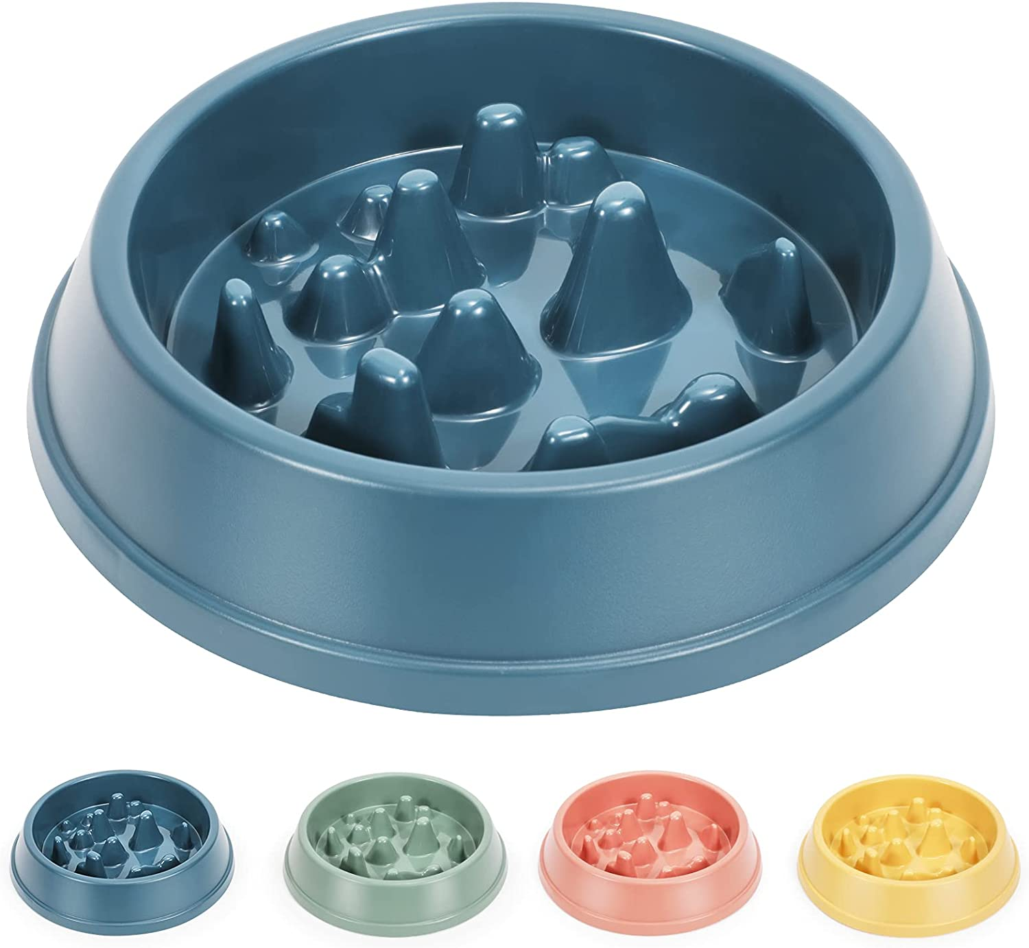 WHIPPY Slow Feeder Dog Bowl Dishes for Small Medium Dog Cat Non Slip Slow Eating Healthy Puppy Bowl Puzzle Maze Fun Feeder Interactive Bloat Stop Dog Pet Bowl, Blue