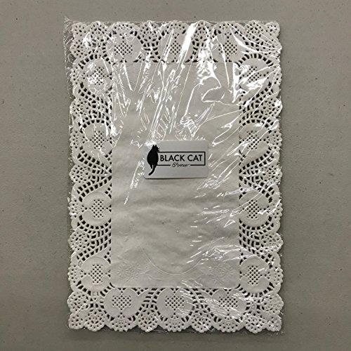 (Pack of 50) Black Cat Avenue 10'' x 14 1/2'' Disposable White Rectangular Lace Paper Doilies by Black Cat Avenue (Image #2)