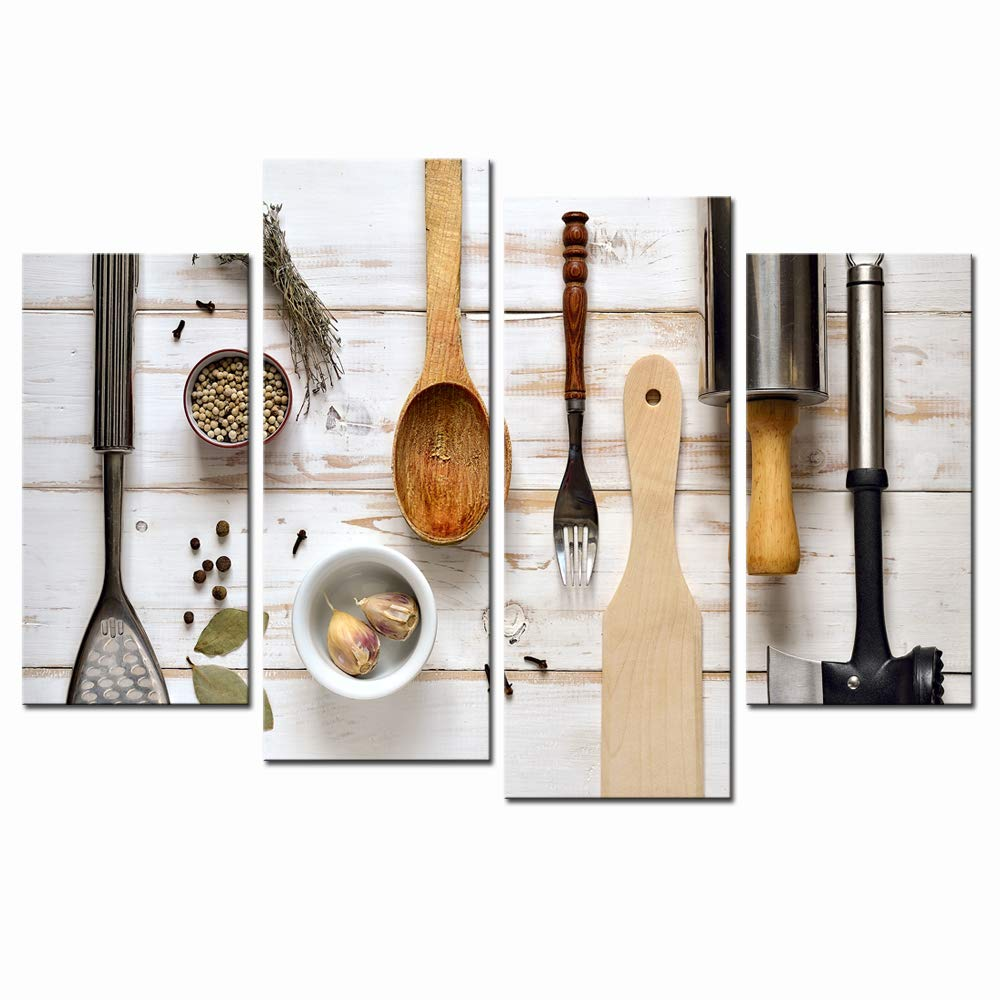 LevvArts 4 Piece Canvas Painting Wall Art Fork and Spoon Utensils Picture Printed on Canvas Kitchen Artwork Gallery Wrap Ready to Hang for Restaurant Decoration and Bar Decor