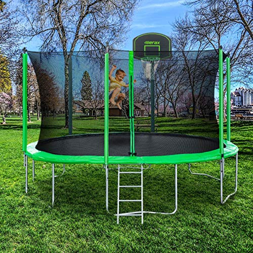 Merax 12ft 14ft Trampoline With Safety Enclosure Net