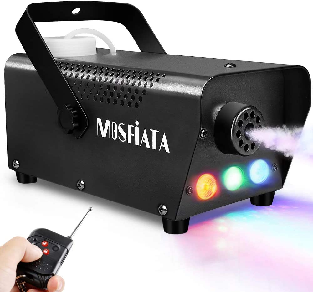 MOSFiATA Fog Machine with Controllable Lights, Continuously Spray 500W Professional DJ LED Smoke Machine 3 Color Light