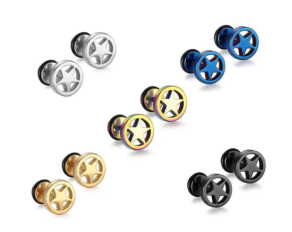 Vnox Pentagrama de acero inoxidable 5 estrellas Pendientes ...