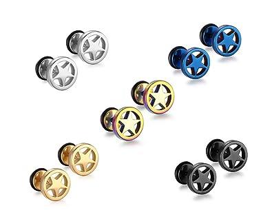 Vnox Pentagrama de acero inoxidable 5 estrellas Pendientes para hombre para mujer Parte posterior de tornillo,paquete de 5 pares: Amazon.es: Joyería