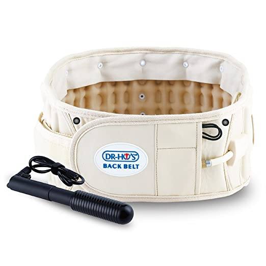 "DR-HO'S 2-in-1 Decompression Belt For Lower Back Pain Relief (Beige, Size A (25""-41""))"