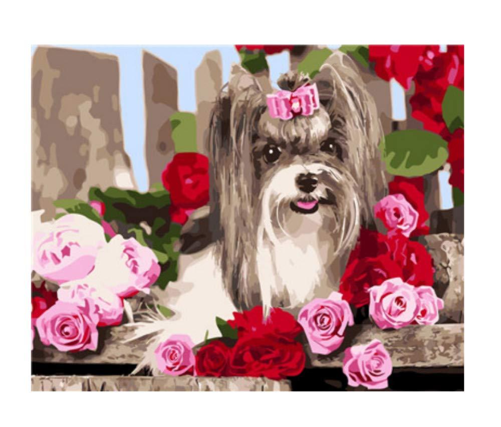 DIRART Rahmenlos DIY Digitale Malerei Cartoon Tier Hund Malen Nach Zahlen Kits Für Kinder Wandkunst Färbung Nach Anzahl Wohnkultur Wohnzimmer 40X50 cm