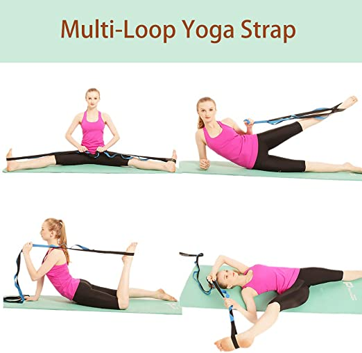 KerKoor Yoga Stretch Strap, Multi Loops Adjustable Exercise Band for Stretching, Physical Therapy, Workout, Pilates, Dance and Gymnastics with Carry ...