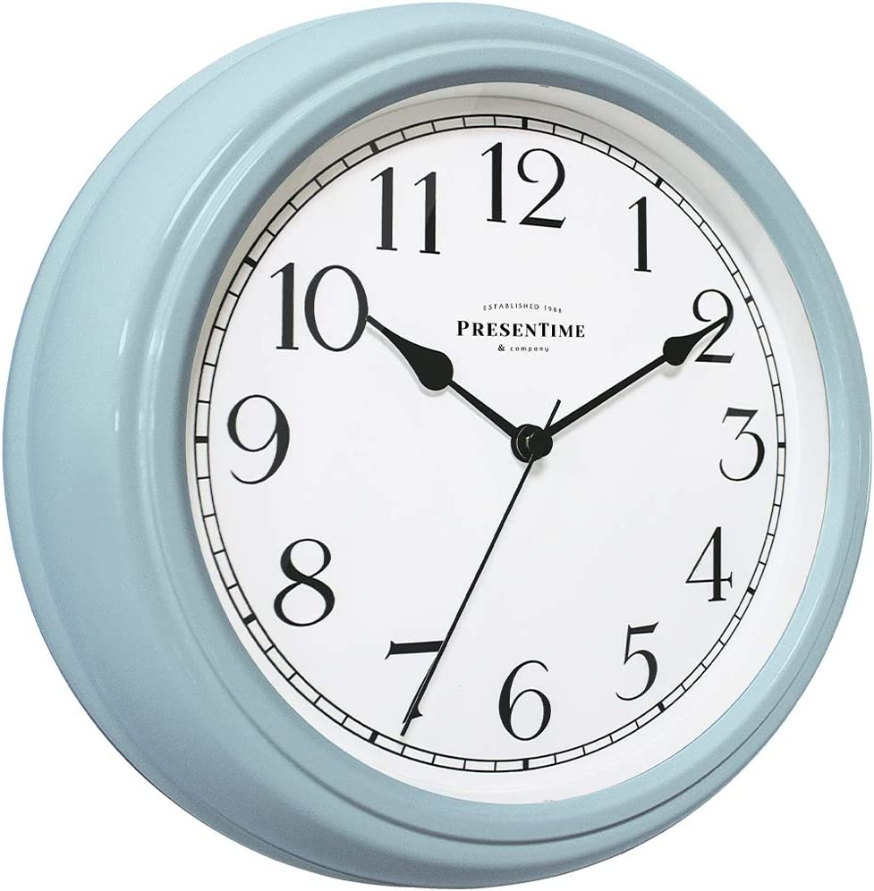 "PresenTime & Co Chic Home Collection 10"" Molly Clock, Silent No Ticking, Blue Color"