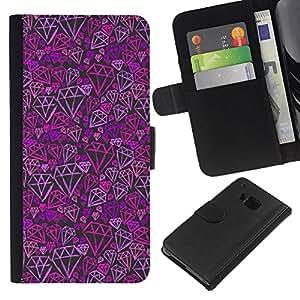 iBinBang / Flip Funda de Cuero Case Cover - Purple Pink Bling Pattern - HTC ONE M7
