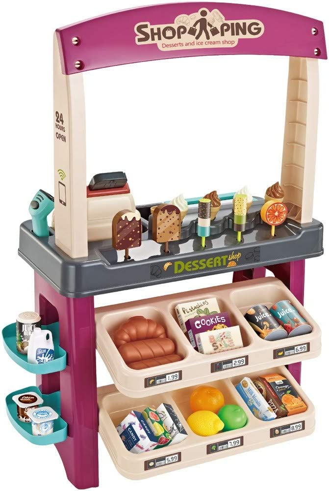 Snacks & Sweets Food Cart | Supermarket Cash Register Pretend Play Simulation Shopping Cart Convenience Store Birthday Gift for Toddlers Boys Girls (Shipment from USA, Simulation Vending Machine)