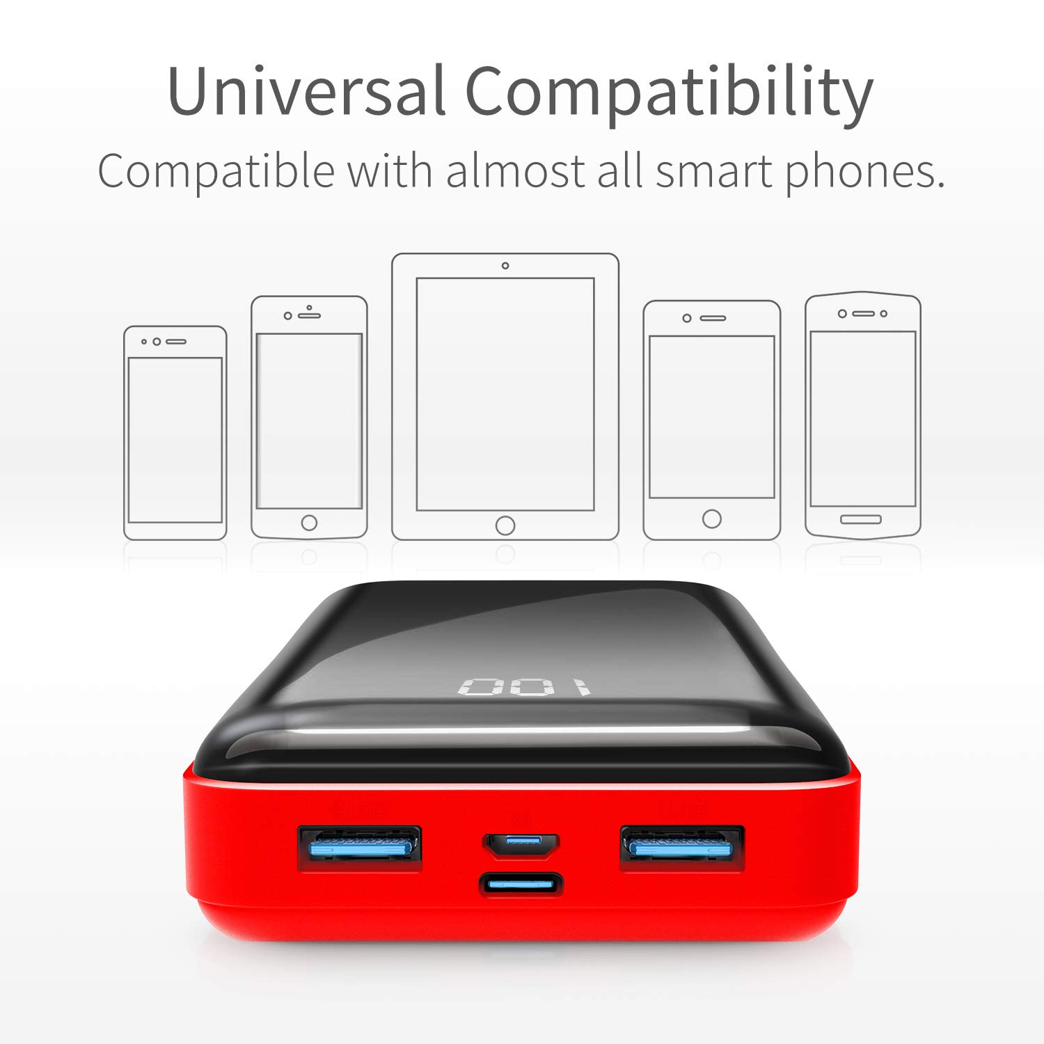 Portable Charger Power Bank 26800mAh Horcol External Battery Pack 2 Output Ports LCD Digital Display Compatible with Android Phone and Other Smart Phone