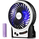 OPOLAR Battery Operated Fan, Personal Handheld Fan, Portable, Rechargeable, 3 Speeds, 2200 mAh Battery, Small Desk Fan with Internal and Side Light, Cooling for Travel,Camping, Boating,Fishing
