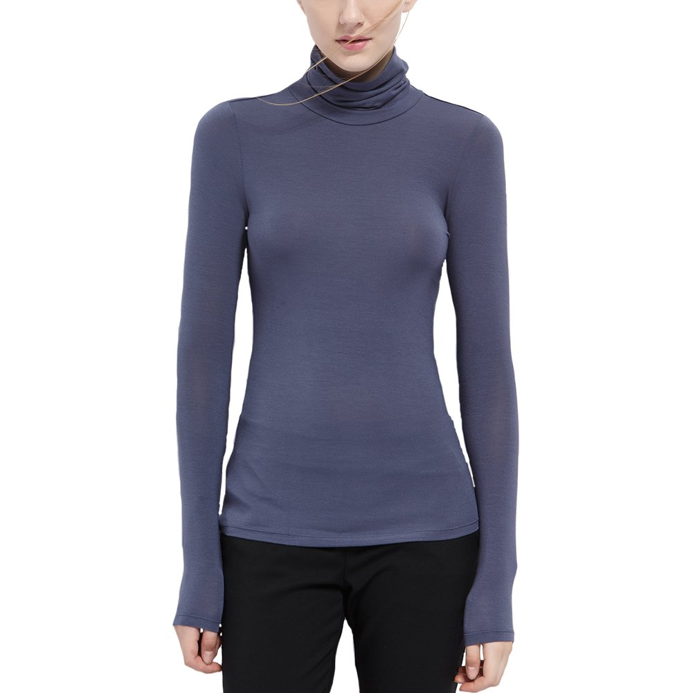 THUNDERSTAR Womens Turtleneck Long Sleeve Basic T-Shirt Modal Soft Stretchy Top
