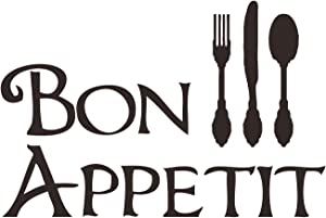 CustomVinylDecor Bon Appetit with Silverware Utensils Silhouette Vinyl Wall Decal   Vinyl Sticker for Dining Room, Kitchen, or Restaurant Decor   Small, Large Sizes