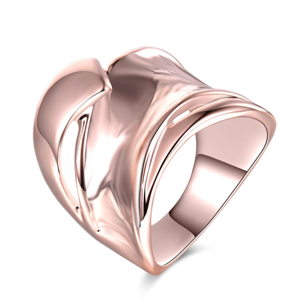 Rose Gold Unique Statement Wide Wave Thumb Ring for Women, Size 7 8 9 TEMEGO