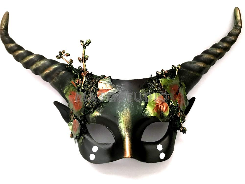 MASQSTUDIO Woodland Forest Gobin Fairy Medusa Masquerade Ball Mask with Horns and Leaves (Dark Green) by MASQSTUDIO