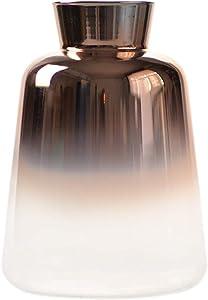 """Flower Bud Ombre Vase, Desk Floral Glass Bud Vase, SVY Champagne Gold Color Stylish Decorative Scent Bottle Shape Flower Glass Vase (3.15"""" W 5.12"""" H)"""