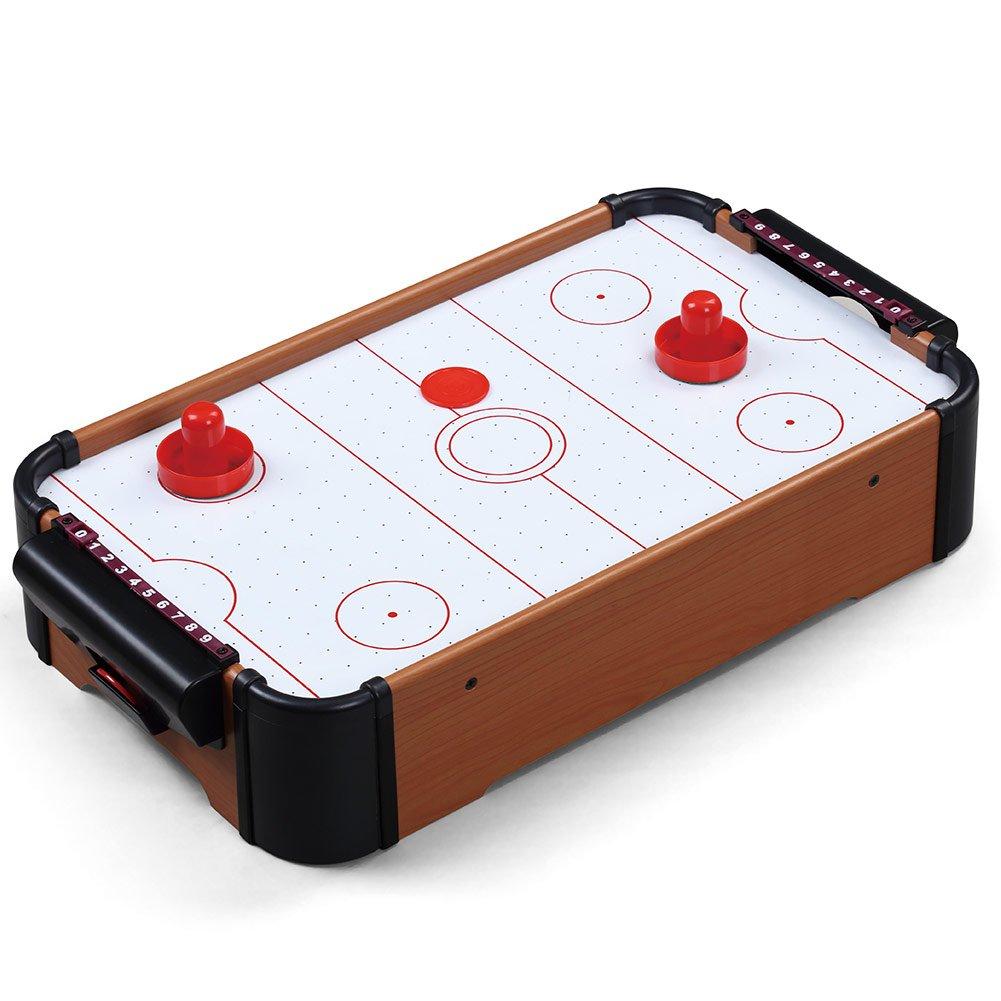 Bakaji Air Hockey con Struttura in Legno MDF due Manopole di Gioco Dischetto Barre Segnapunti e Ventilatore a Batteria Dimensioni 51 x 31 x 10 cm