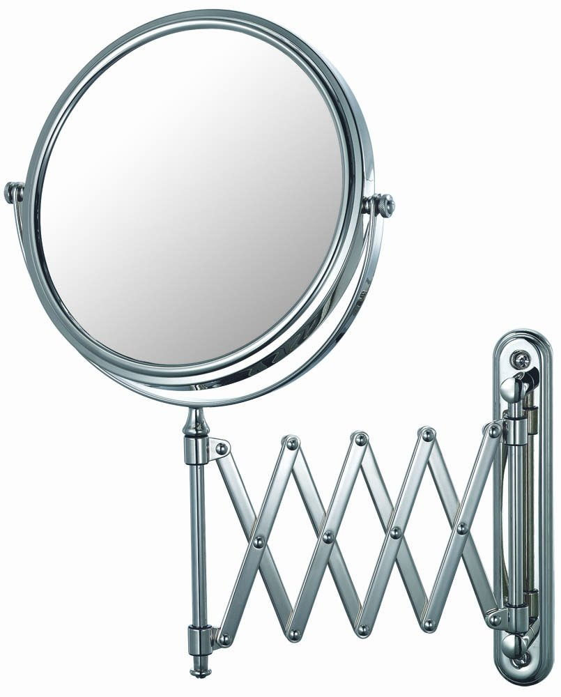 Mirror Image 23345 Extension Arm Wall Mirror, 7.75-Inch Diameter, 1X and 5X Magnification, Chrome