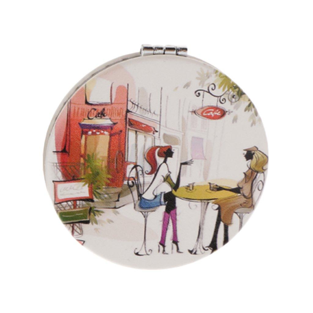 Fenteer Tragbarer Taschenspiegel Kompakter Make-up Spiegel klappbarer Schminkspiegel doppelseitiger Handspiegel - zufällig Herz, 70x65x10 mm